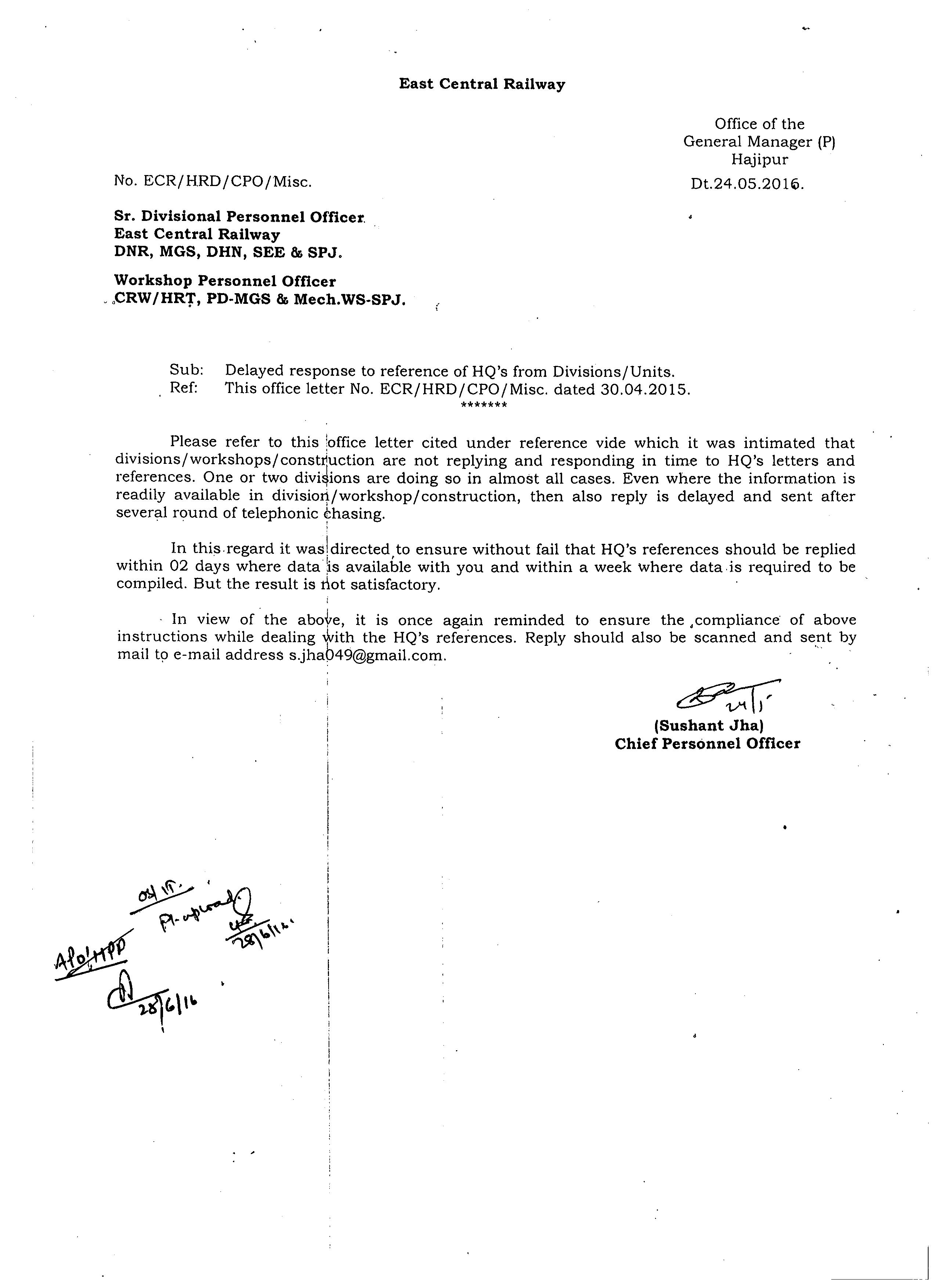 east central railways n railways portal delayed response to reference of hq s from divisions units dt 24 05 2016